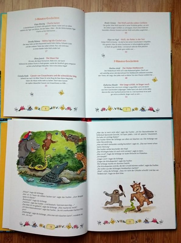 """Vorlesebuch """"Tierisch-tolle Minutengeschichten"""" Inhaltsverzeichnis, Innenseiten, Illustrationen"""
