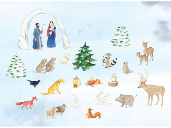 Folienbild, Rica, Adventskalender, Waldtiere, Weihnachten, Katharina Mauder Seitenwaise Text