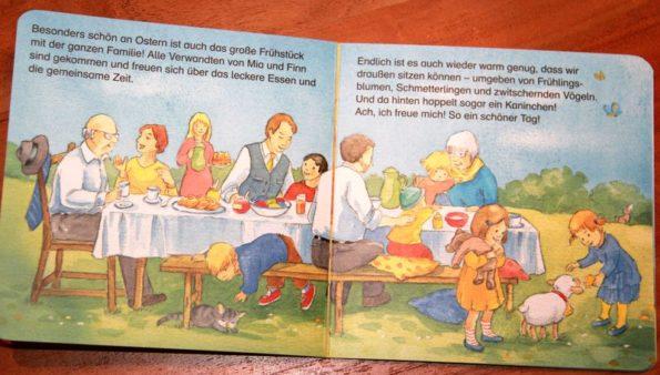 Seitenwaise Text Katharina Mauder, Rica erzählt, Wir feiern Ostern, Schaf, Schäfchen, Ostern, Osterfest, Osterlamm, Ostereier, Osterbräuche, Bilderbuch, Ostertraditionen, Osterfrühstück, Familienfrühstück, Frühling