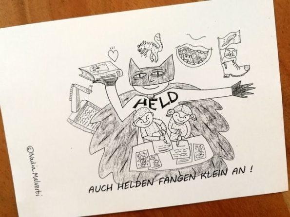 Katharina Mauder, Nadia Malverti, Schreibwerkstatt, Kultur macht stark, Autorenpatenschaft, Bündnisse für Bildung, Auch Helden fangen klein an