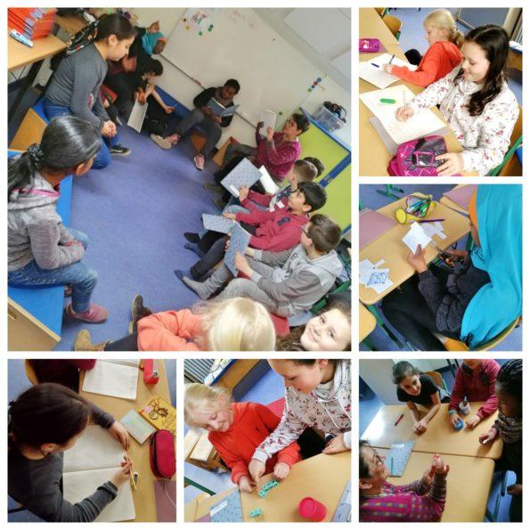 Collage mit Eindrücken von der Schreibwerkstatt in Hamburg Wilhelmsburg mit Katharina Mauder und Nadia Malverti; die Kinder schreiben kreative Geschichten in dem Schreibkurs, sie basteln und lesen vor