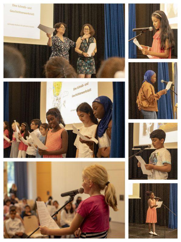 Katharina Mauder, Nadia Malverti, Schreibwerkstatt in Hamburg Wilhelmsburg, Abschlussveranstaltung, Lesung, Kinder lesen ihre Texte vor Publikum