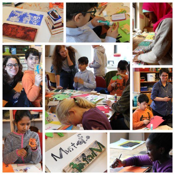 Collage mit Eindrücken unseres Stempel-Workshops mit Constanze Spengler in der Honigfabrik, innerhalb der Schreibwerkstatt in Hamburg mit Katharina Mauder und Nadia Malverti; die Kinder basteln eifrig Stempel aus Moosgummi, um ihre Geschichten zu illustrieren