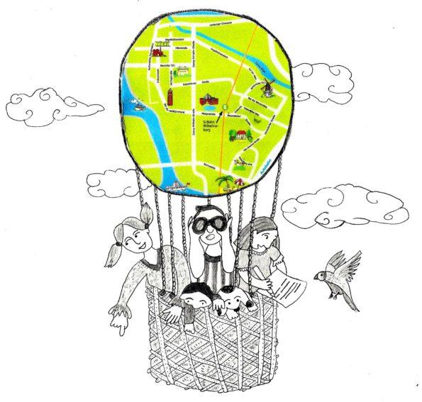 Abbildung des Logos der Schreib- und Geschichtenwerkstatt von Katharina Mauder und Nadia Malverti zum Thema Stadt, Land, Heimat - Wilhelmsburg und die Welt; die Zeichnung zeigt Kinder in einem Heißluftballon, der aus einer Landkarte besteht, weil uns Geschichten und kreatives Schreiben überall hinbringen können